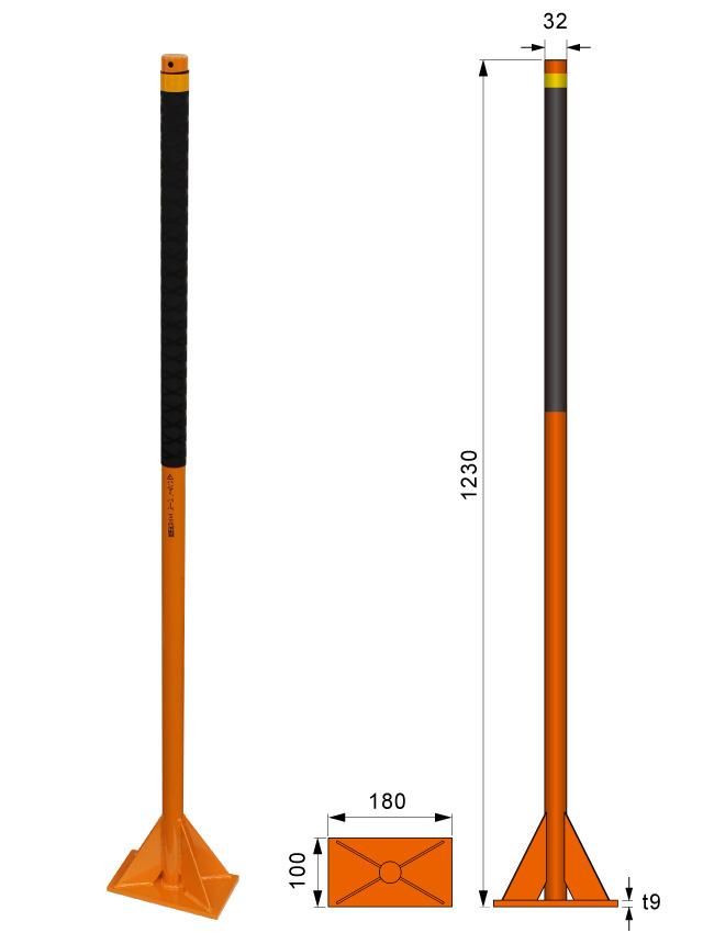 鉄製オレンジタンパ(長方形タイプ) 寸法図