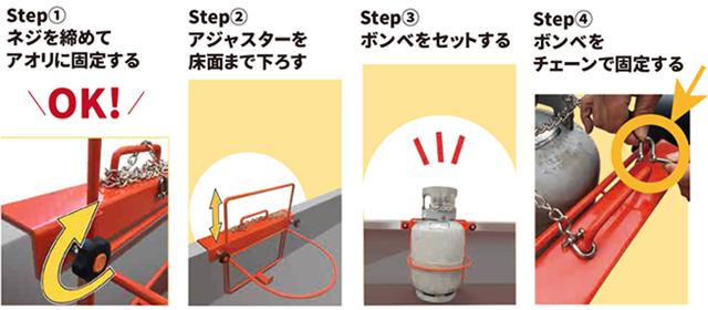 ガスボンベホルダー使用方法